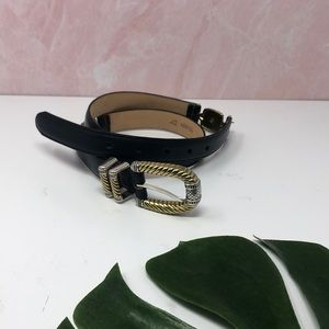 Brighton Black Belt with Gold Silver Hardware A4